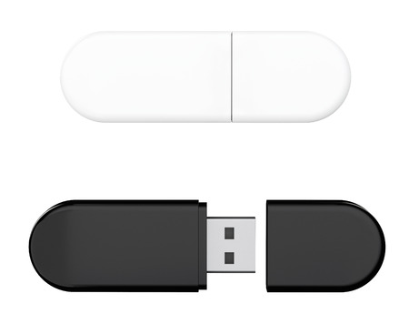 flash memory: USB Flash Memory Drives on a white background. 3d Rendering