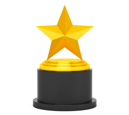 star award: Gold Star Award on a white background. 3d Rendering