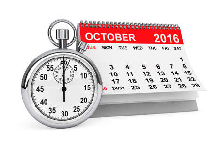 calendar october: 2016 year calendar. October calendar with stopwatch on a white background. 3d rendering