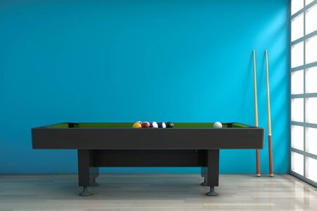 billiards room: Billiard Table with Balls Set and Cue in front of blue wall. 3d Rendering
