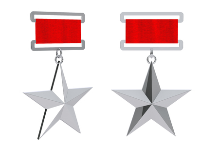 recompense: Hero of the Soviet Union Silver Star Awards on a white background. 3d Rendering