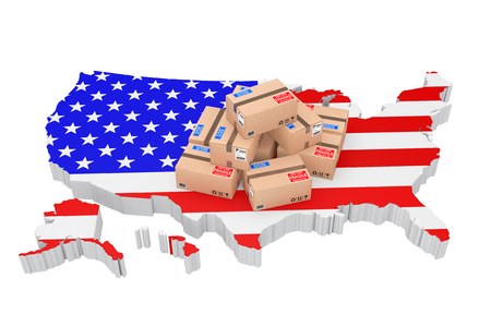 parcels: Online Shopping in USA Concept. Parcels over USA Map on a white background. 3d Rendering