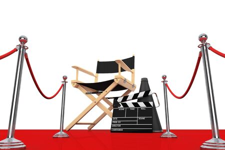 actor: Director Chair, Movie Clapper and Megaphone over Red Carpet with  Barrier on a white background. 3d Rendering