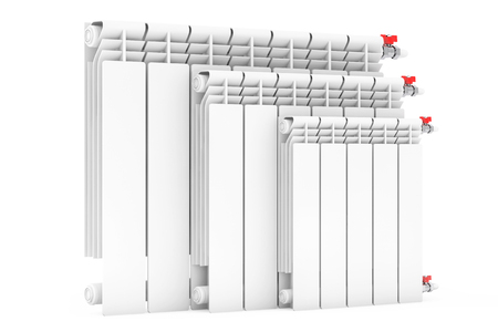 conformity: Modern Heating Radiators on a white background. 3d Rendering