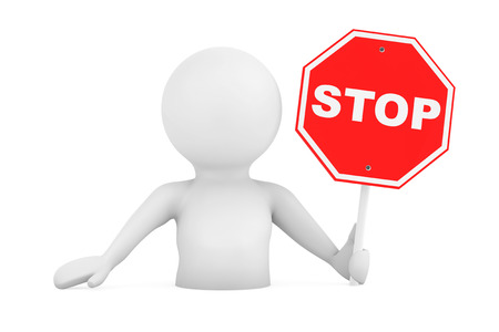 person falling: 3d Person Falling in Problems with Stop Sign on a white background. 3d Rendering