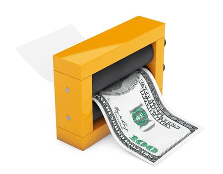 counterfeiting: Magic Press for Making Money on a white background. 3d Rendering