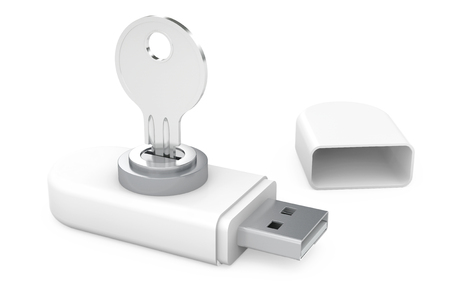 drives: Data Security Concept. USB Flash Memory Drives with Key on a white background. 3d Rendering