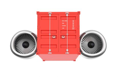 jet engine: Aircraft Jet Engine with Shipping Container on a white background. 3d Rendering