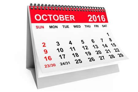 october calendar: 2016 año calendario. calendario de octubre sobre un fondo blanco. Las 3D