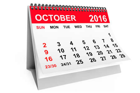 calendar october: 2016 year calendar. October calendar on a white background. 3d rendering Stock Photo