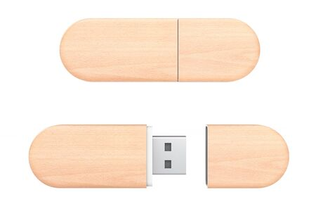 Wooden USB Flash Memory Drives on a white background. 3d Rendering Stock Photo
