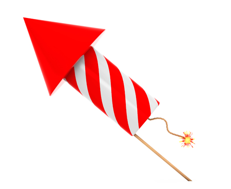 Red Fireworks Rocket on a white background. 3d Rendering Stock Photo