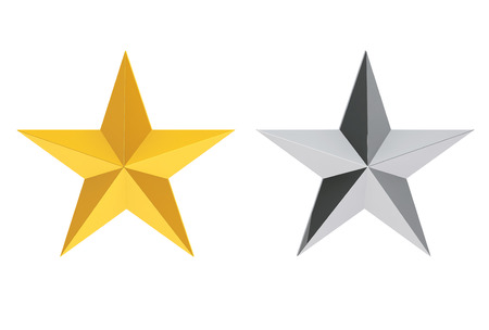 Silver and Gold Stars on a white background. 3d Rendering