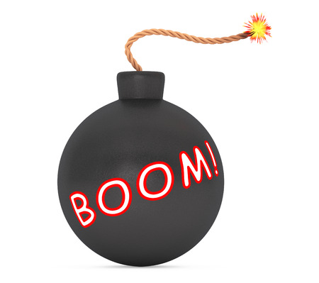 stress ball: Boom Sign Black Bomb with Wick on a white background. 3d Rendering