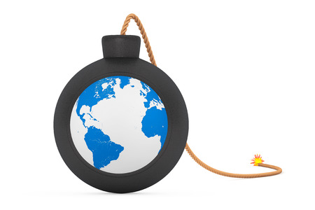 stress ball: Earth Globe in Black Bomb with Wick on a white background. 3d Rendering