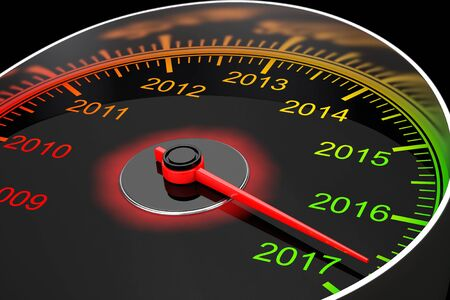 Conceptual 2017 New Year Speedometer on a black background. 3d Rendering Stock Photo