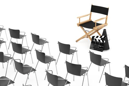 movie clapper: Office Chairs in front of Cinema Director Chair, Movie Clapper and Megaphone on a white background. 3d Rendering