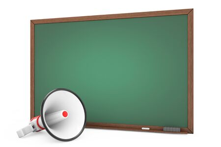 announcing: Empty Blackboard with Megaphone on a white background. 3d Rendering Stock Photo
