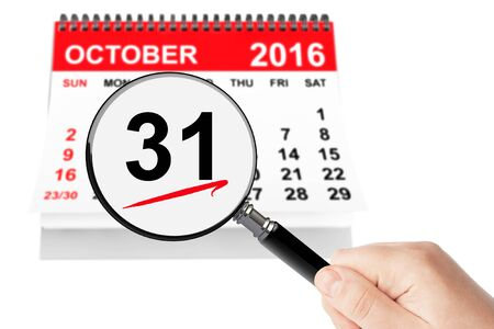all saints day: All Saints Day Concept. 31 October 2016 calendar with magnifier  on a white background
