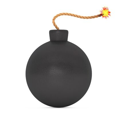 wick: Black Bomb with Wick on a white background. 3d Rendering
