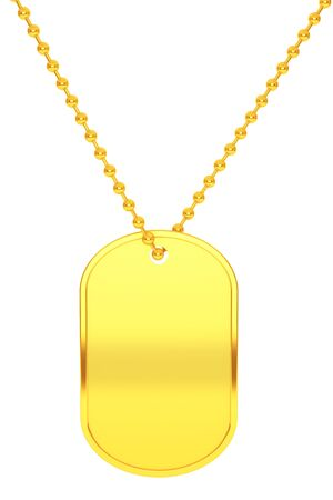 Golden Army Identity Tag on a white background. 3d Rendering