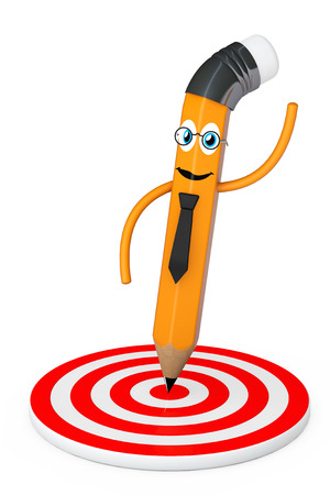 Cartoon Pencil Pointed to Center of Target on a white background. 3d Rendering