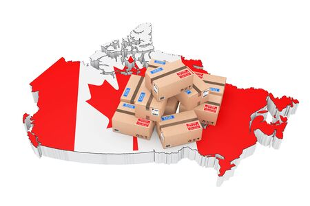 parcels: Online Shopping in Canada Concept. Parcels over Canada Map on a white background. 3d Rendering