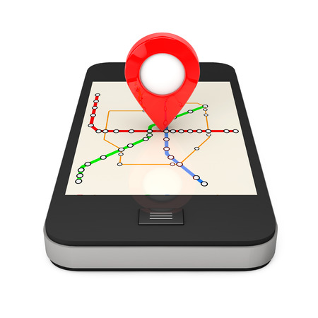 Navigation via Smartphone. Location Pointer on Phone with Abstract Transportation Metro or Subway Map on a white background. 3d Rendering