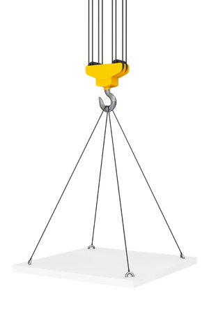 lading: Crane Hook Lifts the Platform on a white background. 3d Rendering