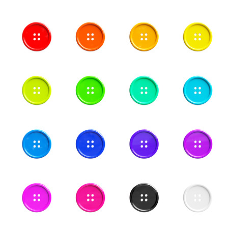 sewing buttons: Multicolour Sewing Buttons on a white background. 3d Rendering