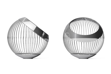 Chrome Steel Wire Vases For Fruits On A White Background 3d Stock