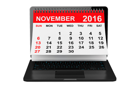 november calendar: 2016 year calendar. November calendar over laptop screen on a white background. 3d rendering