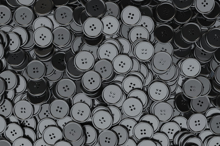 sewing buttons: Sewing Buttons background. Black Sewing Buttons extreme closeup. 3d Rendering