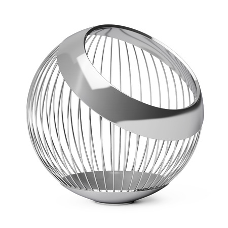 big ball: Chrome Steel Wire Vase for Fruits on a white background. 3d Rendering