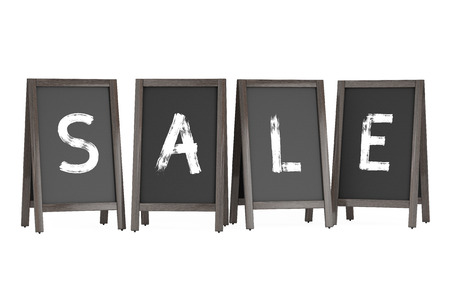 bordering: Wooden Menu Blackboard Outdoor Displays with Sale Sign on a white background. 3d Rendering