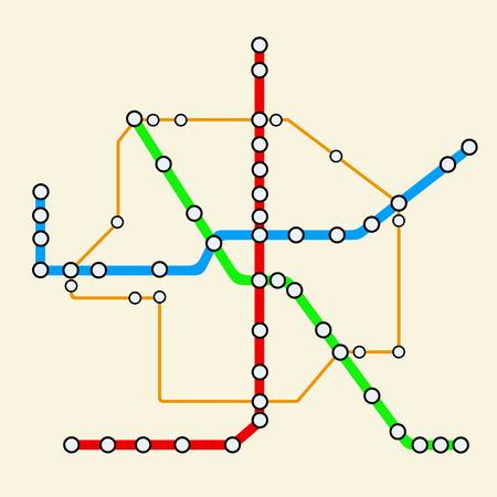 suburban street: Abstract Transportation Metro or Subway Map on a yellow background. 3d Rendering