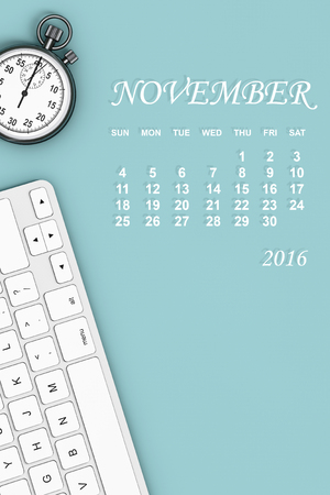 november calendar: 2016 year calendar. November calendar with Stopwatch and Keyboard. 3d Rendering Stock Photo