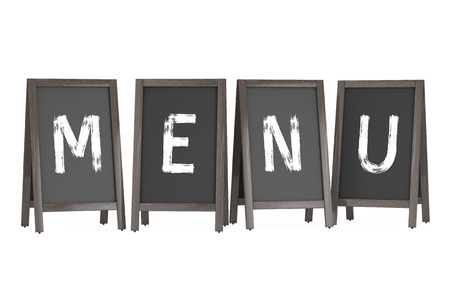 bordering: Wooden Menu Blackboard Outdoor Displays with Menu Sign on a white background. 3d Rendering Stock Photo