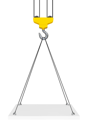weight machine: Crane Hook Lifts the Platform on a white background. 3d Rendering
