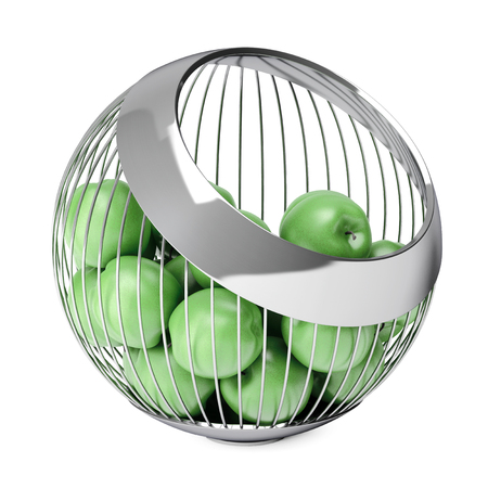 unoccupied: Green Apples in the Chrome Steel Wire Vase on a white background. 3d Rendering