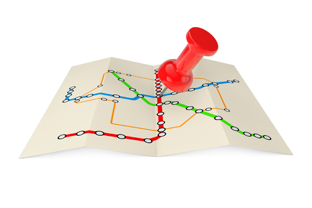 Abstract Transportation Metro or Subway Map with Red Push Pin on a white background. 3d Rendering Stock Photo