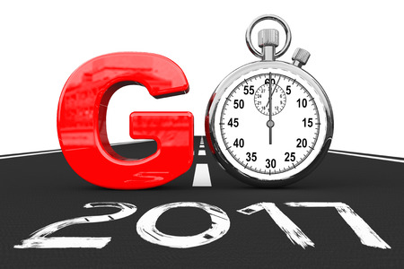 New 2017 Year Concept. Stopwatch as Go Sign over 2017 New Year Road on a white background. 3d Rendering