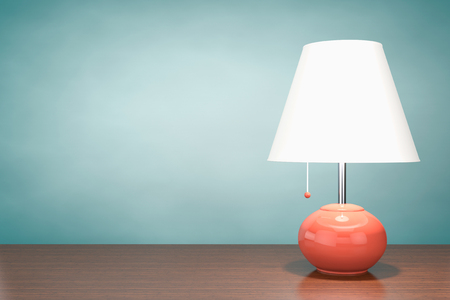 night table: Retro Night Table Lamp on a wooden table. 3d Rendering