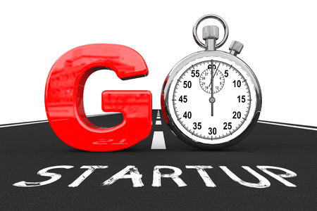 quicker: Startup Concept. Stopwatch as Go Sign over Startup Road on a white background. 3d Rendering Stock Photo
