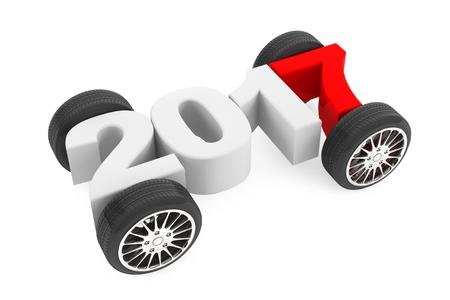 2017 Year Concept with Car Wheels on a white background. 3d Rendering Stock Photo