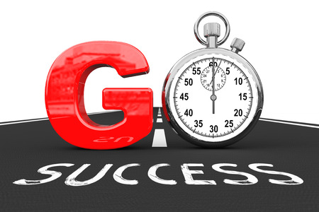 quicker: Road To Success Concept. Stopwatch as Go Sign over Success Road on a white background. 3d Rendering