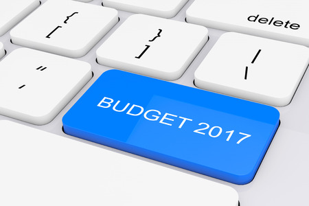 Blue Budget 2017 Key on White PC Keyboard extreme closeup. 3d Rendering