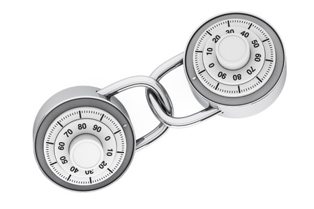 combination lock: Two Linked Padlocks with Combination Lock on a white background. 3d Rendering Stock Photo