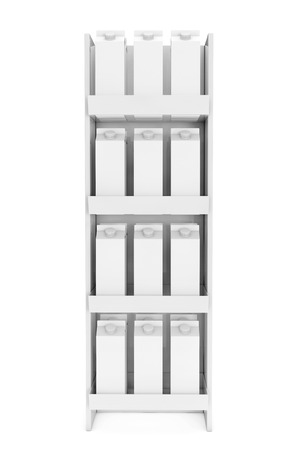 cowl: Blank Milk or Juice Carton Boxes in Store Shelf on a white background. 3d Rendering