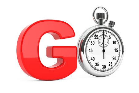 pacing: Classic Stopwatch as Red Go Sign on a white background. 3d Rendering